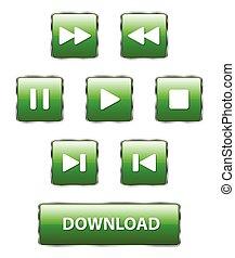 ボタン, 緑, 三角定規