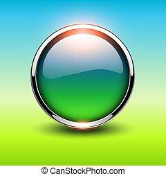 ボタン, 緑, 光沢がある, 金属
