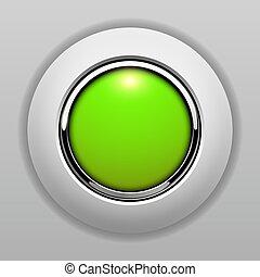 ボタン, 緑, 黄色, 3d