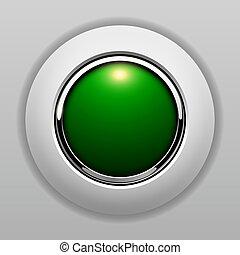 ボタン, 緑, 3d
