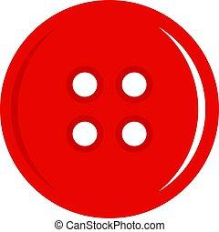 ボタン, 裁縫, 隔離された, 赤, アイコン
