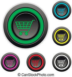 ボタン, 買い物, セット