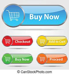ボタン, 買い物, チェックアウト