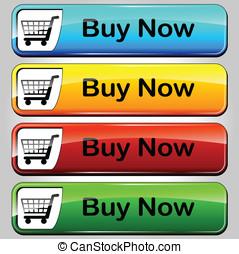ボタン, 買い物, ベクトル
