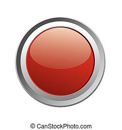 ボタン, 赤, 隔離された, ほんの少し, 白熱