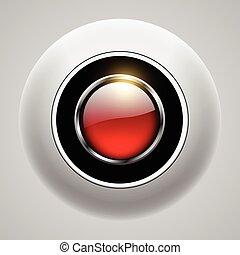 ボタン, 赤, 3d