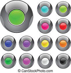 ボタン, 金属, グロッシー, カラフルである