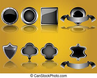 ボタン, 金属, グロッシー, 空, 保護