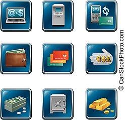 ボタン, 銀行業, セット, アイコン
