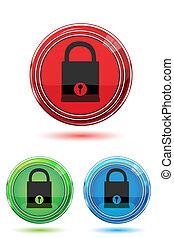 ボタン, 錠, パッド, カラフルである