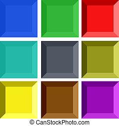 ボタン, 長方形, 3d