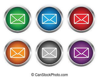 ボタン, 電子メール, セット, 網