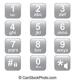 ボタン, 電話, キーパッド, 電話, 灰色