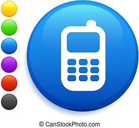 ボタン, 電話, 細胞, アイコン, ラウンド, インターネット