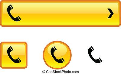 ボタン, 電話, set.