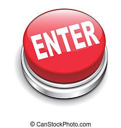 ボタン, 3d, 光沢がある, イラスト, 入りなさい