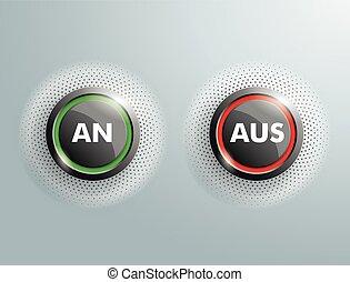 ボタン, aus, 2, ビジネス, halftone