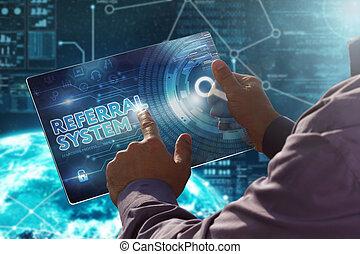 ボタン, concept., ビジネスマン, システム, business., 事実上, date., 紹介, 未来, スクリーン, 技術, 出版物, internet., タブレット