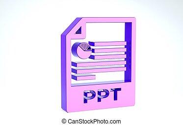 ボタン, document., 白, ppt, presentation., ダウンロード, イラスト, アイコン, ファイル, 3d, render, 紫色, バックグラウンド。, 隔離された