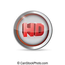 ボタン, hd, デザイン, シンボル, イラスト
