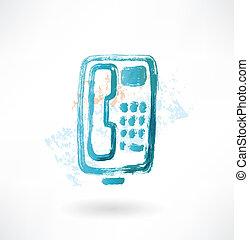 ボタン, icon., グランジ, 電話