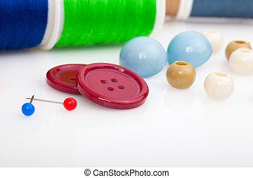 ボタン, needle., 裁縫, 付属品, 糸