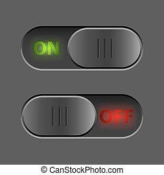 ボタン, on-off, スイッチ, ベクトル, ui, 黒, template.