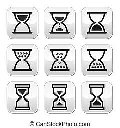 ボタン, sandglass, ベクトル, 砂時計