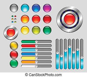 ボタン, sliders, セット, カラフルである