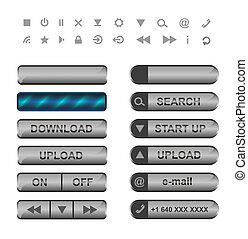 ボタン, web., アイコン