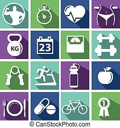 ボディービル, 訓練, 試し, 人々, 運動, ジム, pictogram, ジム, 印, 健康, 人, シンボル, 練習, アイコン