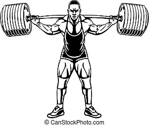 ボディービル, powerlifting, -, vector.