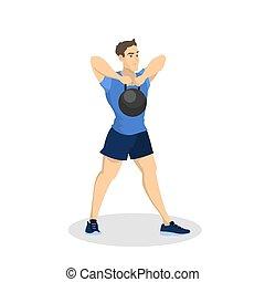 ボディービル, workout., 人, 練習, フィットネス