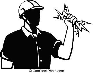 ボルト, 保有物, 側, 労働者, 稲光, 電気技師, レトロ, ∥あるいは∥, 力, 光景, ラインマン, 電気である, 白, 黒