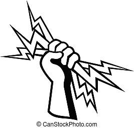 ボルト, 手を持つ, 労働者, 稲光, 電気技師, レトロ, ∥あるいは∥, 力, ラインマン, 電気である, 白, 黒