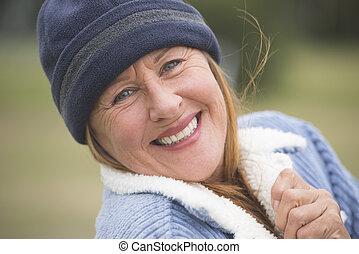 ボンネット, 幸せ, 暖かい, 屋外, ジャケット, 女
