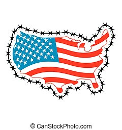 ボーダー, ∥そ∥, 囲まれた, borders., immigrants, wire., アメリカ, とげがある, 国, 不法入国者, 関係, refugees., 地図, 禁止令, アメリカ, 周囲, flag., 閉じる, 移住, 私達, ∥守る∥, fence.