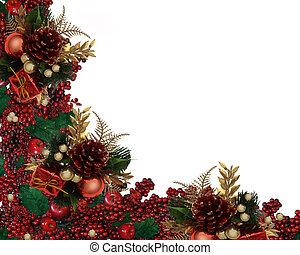 ボーダー, クリスマス, 花輪, ベリー, 西洋ヒイラギ