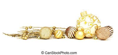 ボーダー, クリスマス, 金, 安っぽい飾り