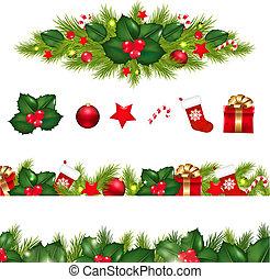 ボーダー, セット, クリスマス, 花輪, クリスマス