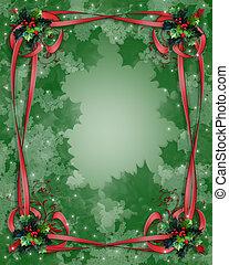 ボーダー, リボン, クリスマス, 西洋ヒイラギ
