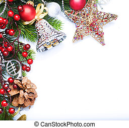 ボーダー, 上に, デザイン, 白い クリスマス