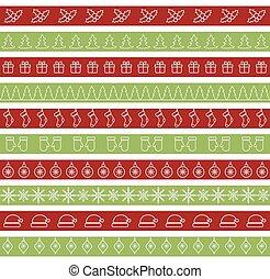 ボーダー, 休日, デザイン, seamless, クリスマス