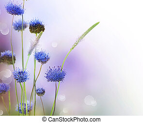 ボーダー, 抽象的, 花, デザイン