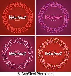ボーダー, 日, card., 円, eps10., パターン, 優しい, バレンタイン, 隔離された, 愛, 背景, バックグラウンド。, 招待, ベクトル, 結婚式, セット, イラスト, design., カード, 心, フレーム, 明るい