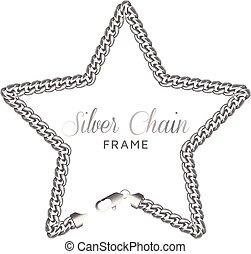 ボーダー, 鎖, frame., 銀星