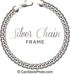 ボーダー, 鎖, frame., 銀, ラウンド