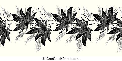 ボーダー, 黒, 白, seamless, 空想, 花