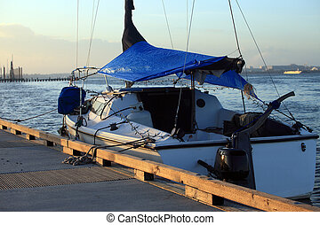 ボートをつないだ, sunset.