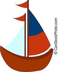 ボート, イラスト, 白, ベクトル, バックグラウンド。, おもちゃ